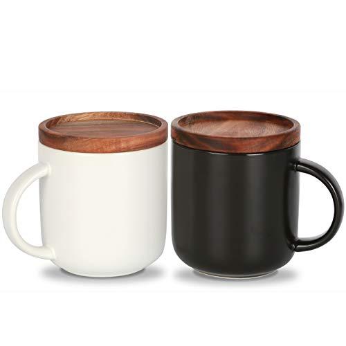 KKC Kaffeetassen Keramik 2er Set - Schwarz und Weiß - 425ml - Tasse Keramik mit Holzdeckel und Löffeln für Kaffee & Tee
