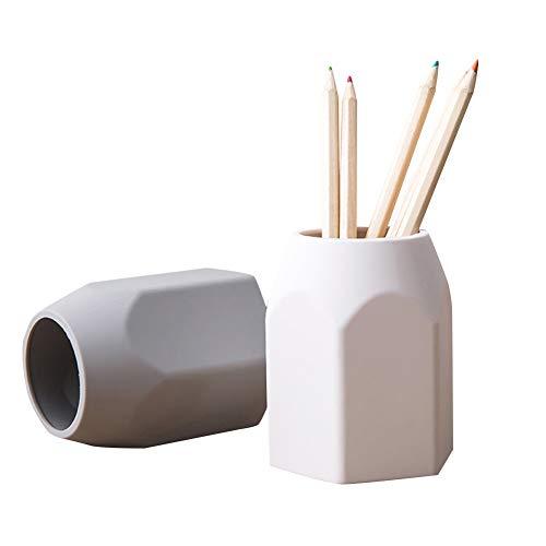 CLELLA Stifteköcher 2-er Stifthalter Multifunktions 65 mm Becher Für Kugelschreiber Schmuckstücken Aus Silikagel Weiß Und Grey (Typ-A)