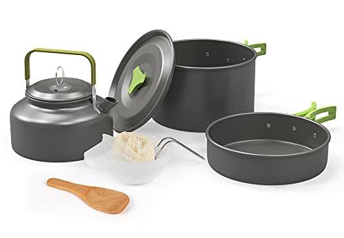 クッカーセット キャンプ クッカー FondRun アウトドアキャンプ用調理器具 アウトドア鍋 アウトドアケトル 収納袋付き 2–3人に適応