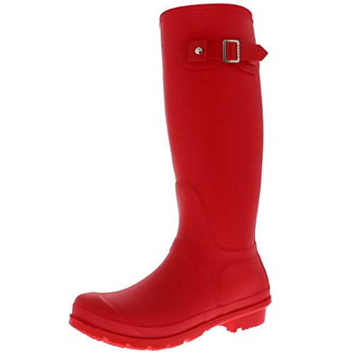 Mujer Tall Estiércol Hebilla Perro Caminando Nieve Lluvia Impermeable Botas De Goma Botas - Rojo - UK5/EU38 - BL0293