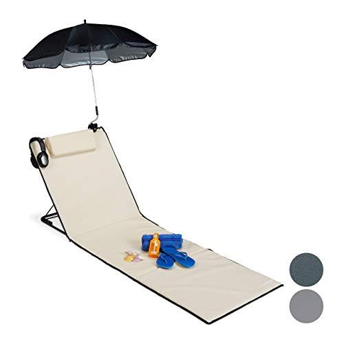 Relaxdays Strandmatte, gepolsterte Strandliege XXL mit Sonnenschirm, 3-stufig verstellbar, Kopfkissen, tragbar, beige