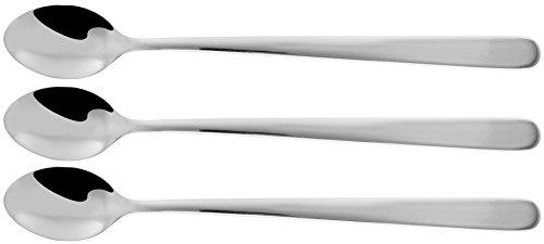 Fackelmann Langstiellöffel, Eiskaffeelöffel aus Edelstahl, Longdrinklöffel für große Gläser (Farbe: Silber), Menge: 3 Stück
