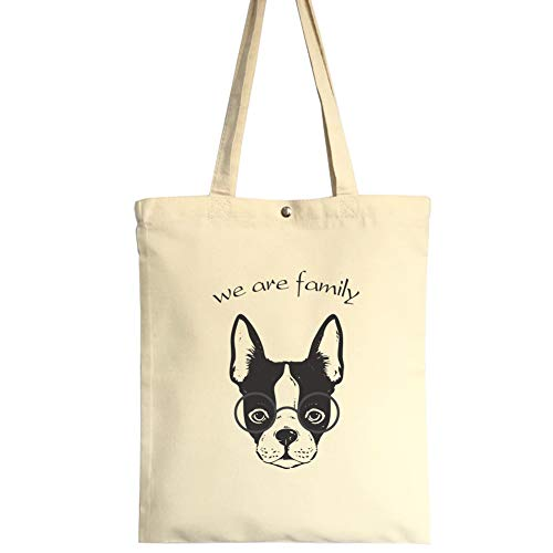 Reusable Canvas Tote Bags Printing Grocery Shopping Bags washable 100% Natural Cotton Bags for Women Man Kids(French bulldog)