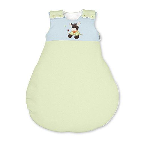 Sterntaler Schlafsack für Babys, Reißverschluss und Knöpfe, Größe: 50/56, Emmi, Grün/Blau