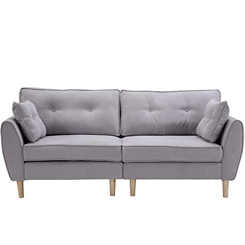 æ— Sofá moderno de tela de lino de 3 asientos, sofá tapizado con 2 almohadas de asiento de amor con patas de madera para sala de estar, oficina y club