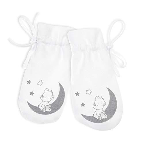Baby Sweets Babyhandschuhe aus Baumwolle als Neugeborenen Handschuhe/Baby-Erstlingshandschuhe in Weiß mit Bär-Motiv als Kratz-Fäustlinge für Jungen und Mädchen/Baby Fäustlinge in Einheitsgröße