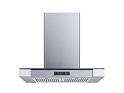 Winflo 30 In. Convertible Stainless Steel Glass Island Range Hood with Stainless Steel Baffle Filters