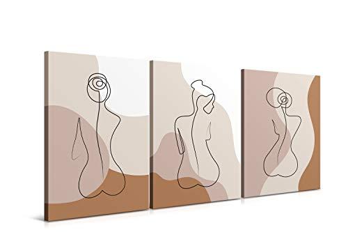 Set de 3 Cuadros de 30 x 40 cm, Arte Abstracto, Decoración Moderna para Salón y Dormitorio, Lienzo de Poliéster y Bastidor de Madera - 3 Piezas, LEN-100