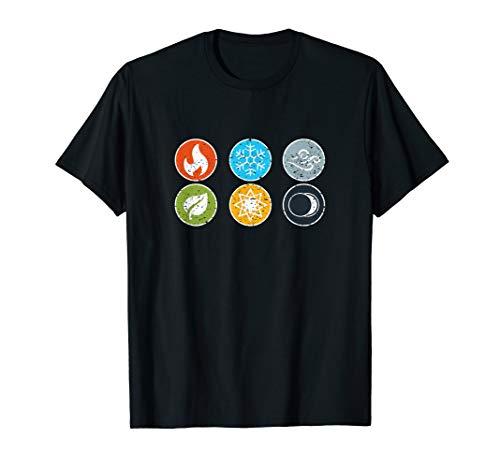 Gloomhaven-Element-Symbol-Feuer-Eis-Luft-Erdlicht-Dunkelheit T-Shirt
