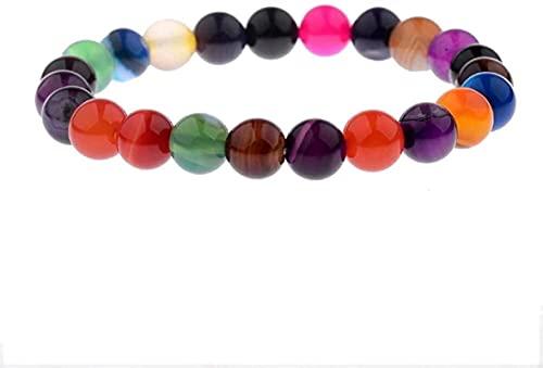 Pulsera de buena suerte Pulsera de piedra Mujer, 7 Chakra 8mm Beads Natural Stone Beads Colorful Agate Elástico Brazalete Joyería Orga de Yoga Energía Reiki Charm Joyería Difusor Regalo para Pareja Un