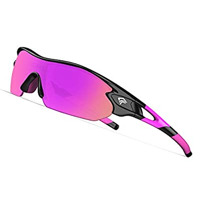 TOREGE Tr90 Flexible Kids Sports Sunglasses Polarized Glasses for Junior Boys Girls Age 3-12 TR04 (Black&Pink&Purple REVO Lens)