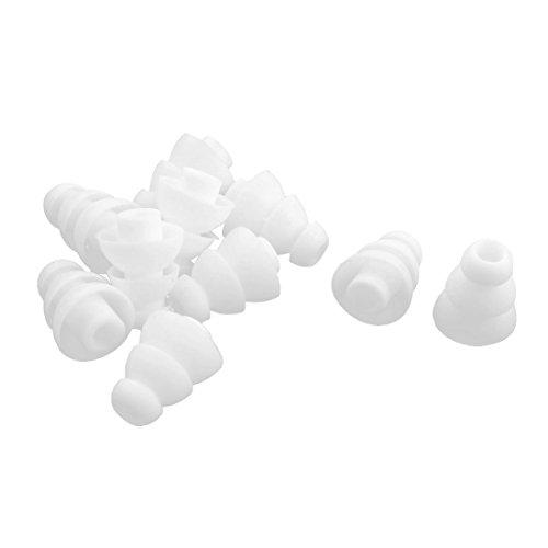 sourcing map 10 Piezas Silicona Blanca 4mm Dia. Reborde Triple Auricular en la Oreja Tapón para los oídos