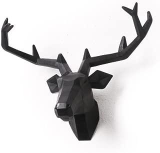 YJ Home Deer Head Wall Mount - Black Stag Head Wall Decor (Large, Black Deer 1)