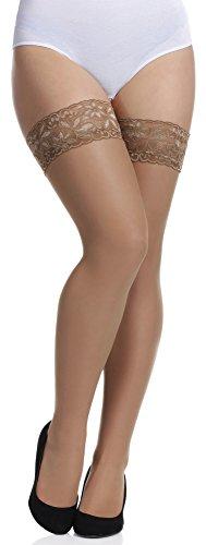 Merry Style Donna Calze Autoreggenti Plus Size MS 164 15 DEN (Beige, XL-XXL)