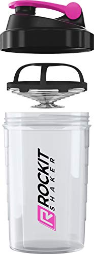 Rockitz Premium Shaker per proteine 500ml - funzione di miscelazione con filtro per infusione - per frullati proteici super cremosi per il fitness, tazza per frullati proteici - Rosa | Trasparente