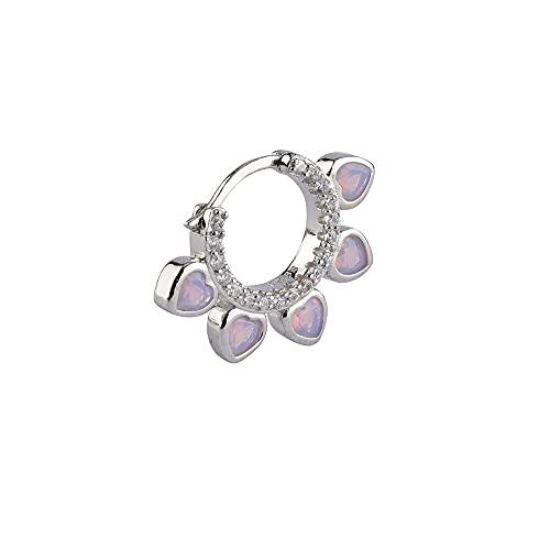 925 Plata Púrpura Rosa Flor de alimentación Huggies Aro central Goold Círculo Bucles redondos Pendientes Joyería de mujer-Plata individual 1 Uds