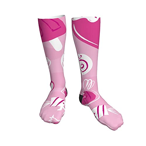 Candy3 Womens Socks,50cm Athletic Tube Socks Over The Calf Stockings Non See Through Cute Cartoon Thigh High Stockings Comfort Breathable Casual Socks
