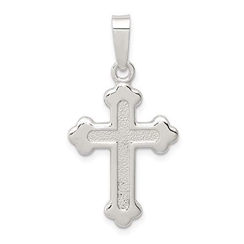 .925 Argent Sterling Poli Caravaca double croix avec anges Crucifix Pendentif