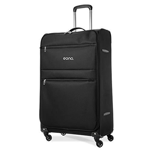 Eono Essentials Maleta ligera, con cuatro ruedas giratorias, de 73,6 cm (81 x 48 x 31 cm, negra)