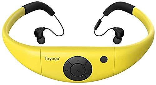 IPX8 8GB Waterproof MP3 Player, Swimming Headphones with Bluetooth FM APP, Work for 6-8 Hours Under Water 3 Meters - Yellow