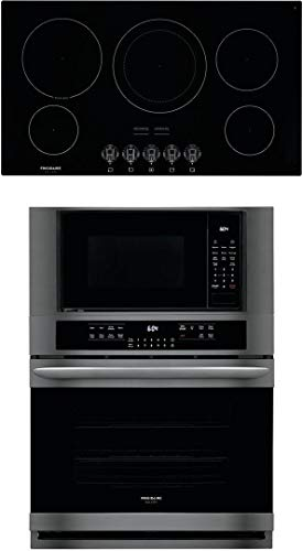 """Frigidaire 2 Piece Kitchen Appliances Package with FGMC3066UD 30"""" Electric Double Wall Oven/Microwave Combo and FGEC3648UB 36"""" Electric Cooktop in Black Stainless Steel"""