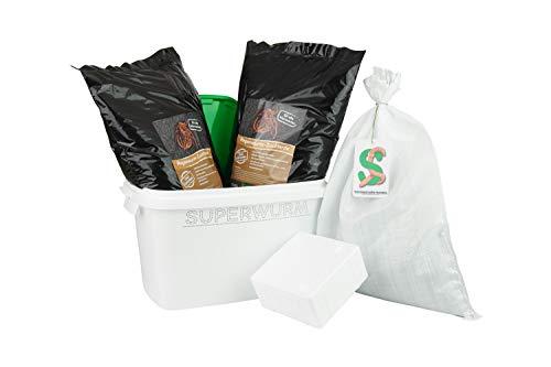 SUPERWURM Set große (ca. 315 Stück) Angelwürmer, Futterwürmer, Regenwürmer - 0,5 kg