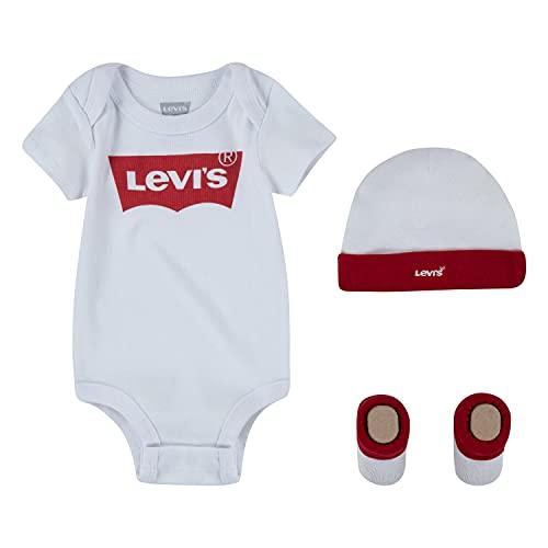 Levi's Kids Classic Batwing Infant Hat Bodysuit Bootie Set 3Pc Footies pour bébés et bambins Bébé fille Blanc 0-6 mois