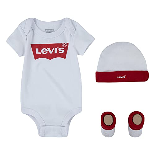 Levi's Kids Classic Batwing Infant Hat Bodysuit Bootie Set 3Pc Tutina per bambino e neonato Bimba 0-24 White 0-6 mesi