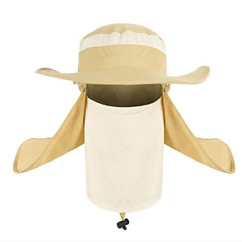 JQBTW Sonnenschutzkappe mit breiter Krempe Outdoor Summer Sunscreen Sport-Hut -UV-Hut mit Abnehmbarer Gesichtsmaske und Nackenklappe,G