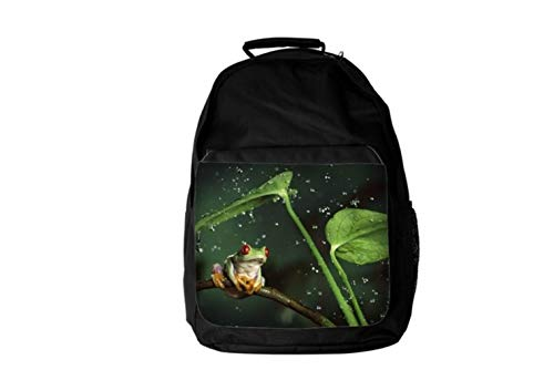 Incredible Frog Sitting On Stick Under leaf From Rain HD Digital Rain Drops Background Affect Animal Lovers Backpack Fashion Laptop School Business Travel Unisex for Men & Women