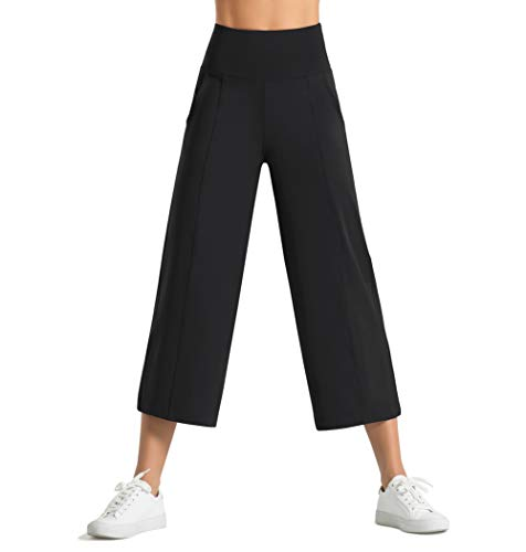Dragon Fit Women Split Bootleg Yoga Capris Pants with Pockets Tummy Control High Waist Workout Flare Crop Pants (Large, 40k-Black)