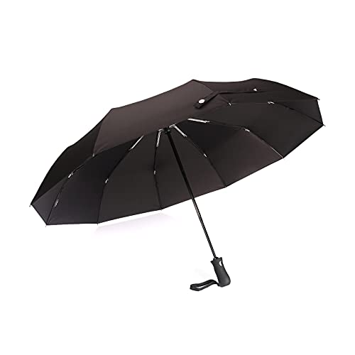 FABCOLL Windproof Travel Umbrella with Teflon Coating,Large compact Folding Umbrella with Ergonomic Handle, Black