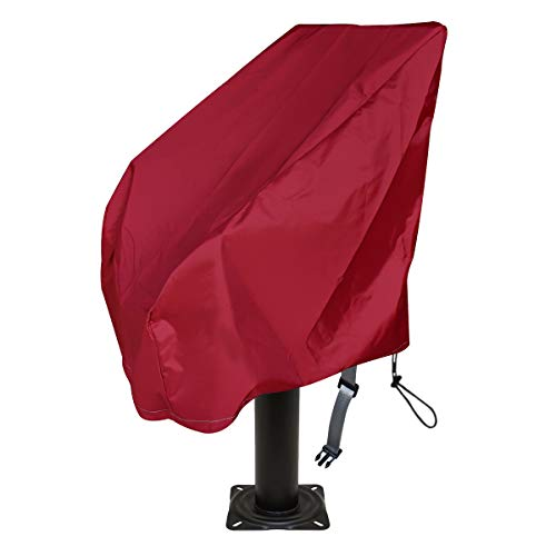 Boat Seat Cover Heavy Duty Oxford Fabric, Captain's Chair Cover Weather Resistant 420D Waterproof, Boat Bench Chair Seat Cover ,Full Length Protection for Your Helm Chair Protective Cover (Wine red)