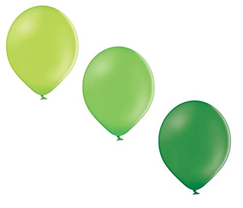 Ballonheld 50 Luftballons 3 Farben apfelgrün, Limone, dunkelgrün Qualitätsballons 27 cm Ø KEIN Plastik, biologisch abbaubar