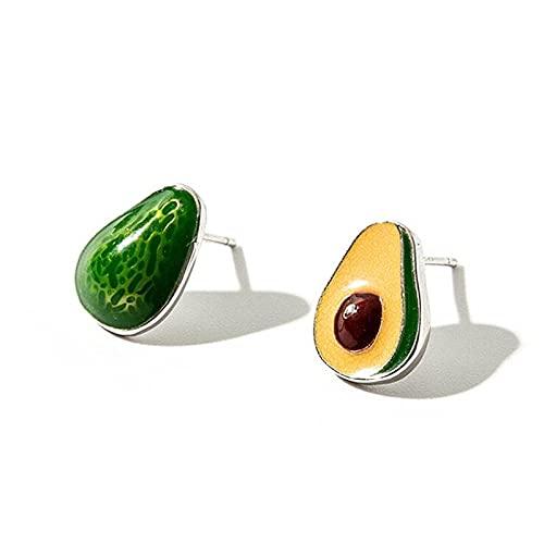 Pendientes de perlas de fruta aguacate creativo hecho a mano epoxi 925 plata esterlina personalidad verde SE75