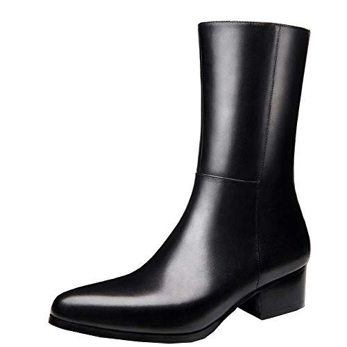 QPNDOX Chessier-Stiefel, schwarze Stiefel - Herren-Stiefel aus Rindsleder mit spitzem Zehenschlauch, Plus Size 44-46 Zipper Boots.-37