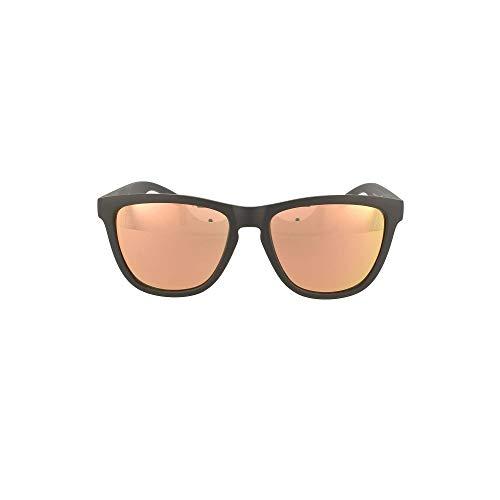 HAWKERS Gafas de Sol ONE Carbon Black, para Hombre y Mujer, con Montura Negra Mate y Lente Rosa Dorada Efecto Espejo, Protección UV400