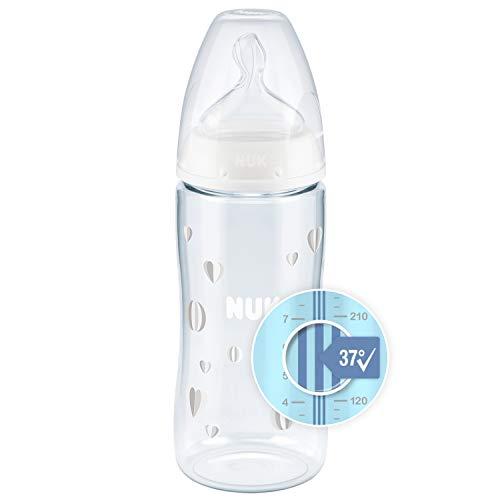 NUK First Choice+ Babyflasche | mit Temperature Control Anzeige | 300ml | 6-18 Monate | Anti-Colic | BPA Frei | neutral (Herzen)
