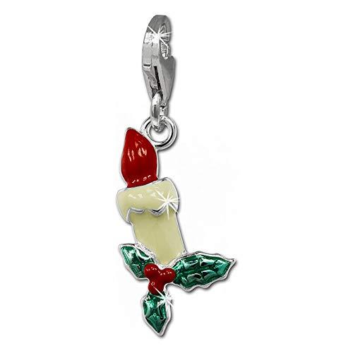 SilberDream Charm 925er Silber Emaille Anhänger bunt Weihnachtskerze FC847W