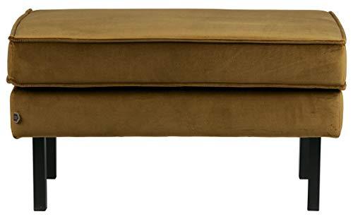PEGANE Banc en Velours 100% Polyester et métal, Finition Jaune Miel - Dim : H.45 x L.84 x P.54 cm