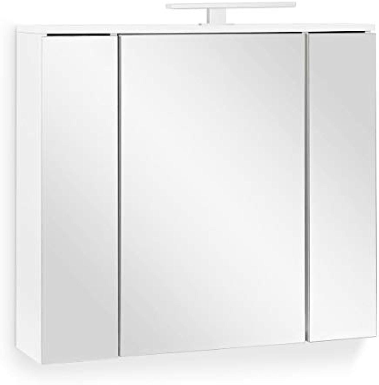 Galdem Easy Spiegelschrank 80cm Badezimmerschrank Wandschrank Badmbel 3 Spiegeltüren 6 Einlegebden LED Beleuchtung mit Steckdose Wei