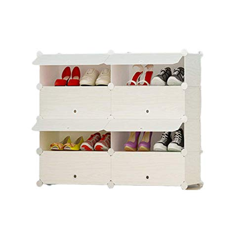 qazxsw Torre organizadora de Almacenamiento de Zapatos, estantería Modular portátil para Ahorrar Espacio, estantes para Zapatos, Botas, Zapatillas, 29,9 x 14,5 x 29,5 Pulgadas (2 x 4