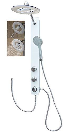 Glas Duschpaneel Regendusche Duschsystem Weiß mit 2 Massagedüsen für die Wandmontage