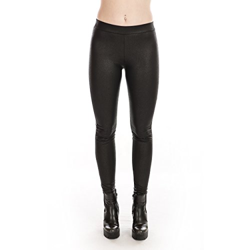 Rubberfashion Glanz Leggings, Sexy glänzende Leggins Legings Schlangen Muster Stretch Hose glänzend bis zur Hüfte für Damen und Frauen schwarz L