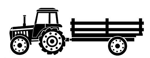 EmmiJules Wandtattoo Traktor für Kinderzimmer - mit Namen möglich - Made in Germany - in verschiedenen Farben - Trecker Junge Mädchen Jungs Wandsticker Wandsticker (20cm x 60cm, schwarz)