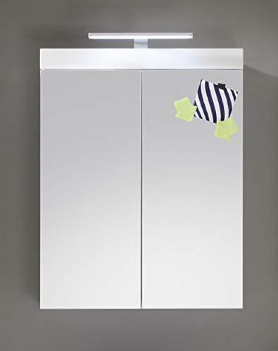 Spiegelschrank Badezimmer Amanda in Hochglanz weiß 2-türig 60 x 77 cm inklusiv LED Spiegellampe