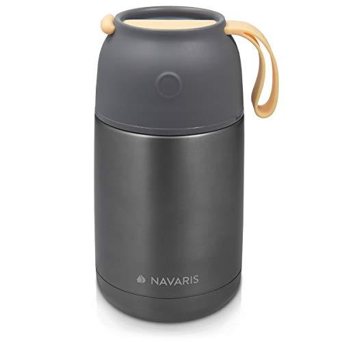 Navaris Termo Comida Caliente - Recipiente para Mantener frío y Caliente - De Acero Inoxidable y con Capacidad para 650 ML - en Gris Oscuro
