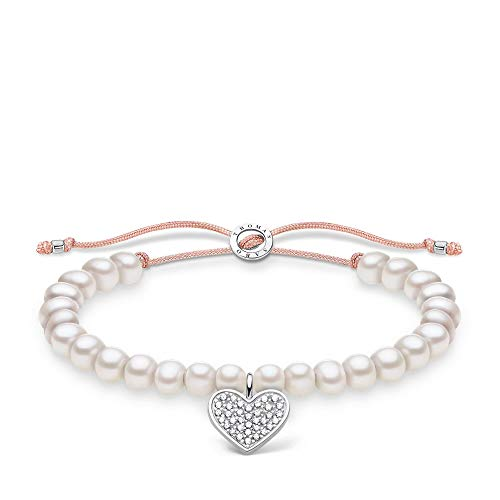Thomas Sabo 925 Sterling Silver Pave White Pearl Bracelet of Length 13-20cm