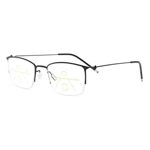 RXBFD Intelligenter Zoom Lesebrille, Multifokale Dioptrien-Gleitsichtbrille Lentes, Männer/Frauen Halb umrandet Leser