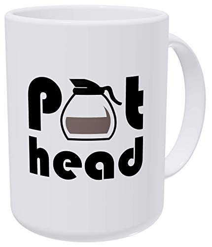 Willcallyou Pot Head 15 Ounces Double Side Printed Funny White Coffee Mug